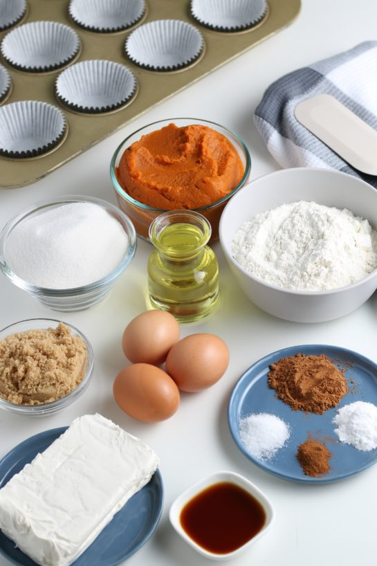 Ingredients needed for the pumpkin cream cheese swirl muffins