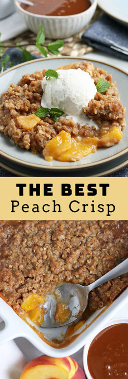 The Best Fresh Peach Crisp recipe: deliciously sweet and juicy peach layer topped with the most irresistible crisp toppingin the world. This is the perfect summer or fall dessert and is SO easy to make!