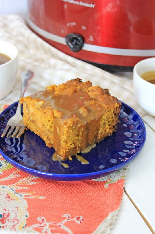 Crock Pot Pumpkin Bread Pudding recipe is so easy to make - just put it all in the Crock pot and let it cook. You can make this the night before, refrigerate, then drizzle it with warm caramel sauce before serving. Perfect for Thanksgiving or Christmas morning breakfast!