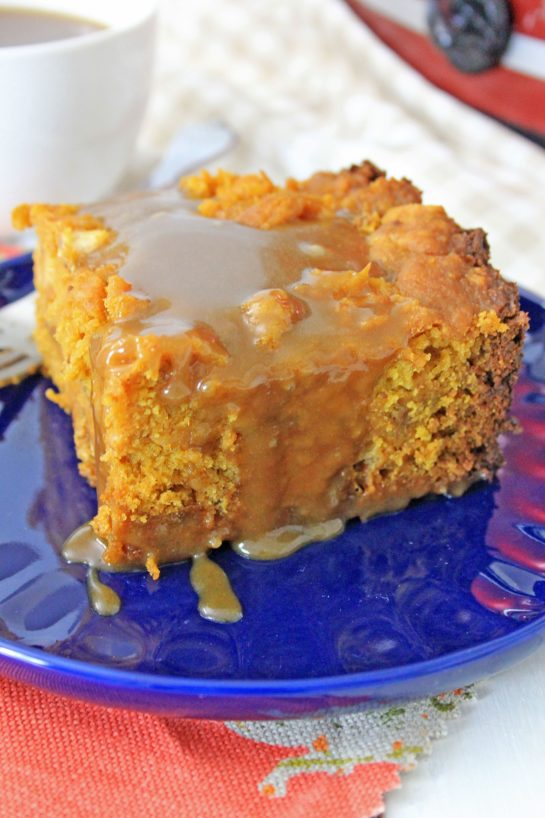 Easy Crock Pot Pumpkin Bread Pudding recipe is so simple to make - just put it all in the Crock pot and let it cook. You can make this the night before, refrigerate, then drizzle it with warm caramel sauce before serving.