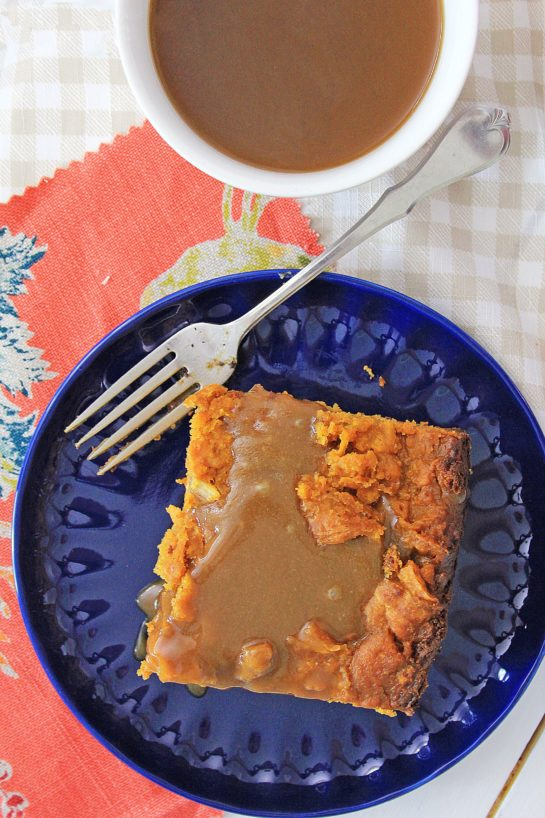 Crock Pot Pumpkin Bread Pudding recipe is so easy to make - just put it all in the Crock pot and let it cook. You can make this the night before, refrigerate, then drizzle it with warm caramel sauce before serving.