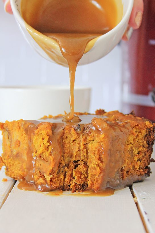 Pouring the caramel on the Crock Pot Pumpkin Bread Pudding recipe