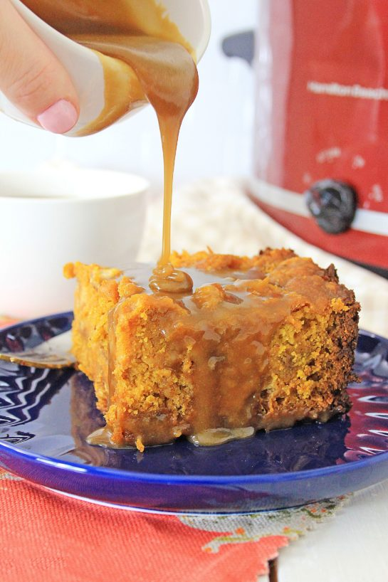 Crock Pot Pumpkin Bread Pudding recipe is so simple to make - just put it all in the Crock pot and let it cook. You can make this the night before, refrigerate, then drizzle it with warm caramel sauce before serving.