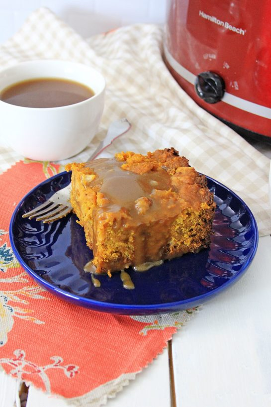 Crock Pot Pumpkin Bread Pudding recipe is so easy to make - just put it all in the Crock pot and let it cook. You can make this the night before, refrigerate, then drizzle it with warm caramel sauce before serving. Perfect for Thanksgiving dessert or Christmas morning breakfast!