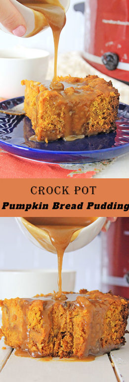 Crock Pot Pumpkin Bread Pudding recipe is so easy to make - just put it all in the Crock pot and let it cook for Thanksgiving or Christmas dessert or breakfast! You can make this the night before!