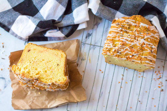 Fall Confetti Sweet Bread recipeis super moist and flavorful. This breakfast or dessert bread is easy to make and doesn't require a mixer - just a bowl, spatula and bread loaf pan. Nothing tastes more like fall!