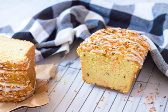 Fall Confetti Sweet Bread recipeis super moist and flavorful. This breakfast or dessert bread is easy to make and doesn't require a mixer - just a bowl, spatula and bread loaf pan. This is perfect for the holidays!