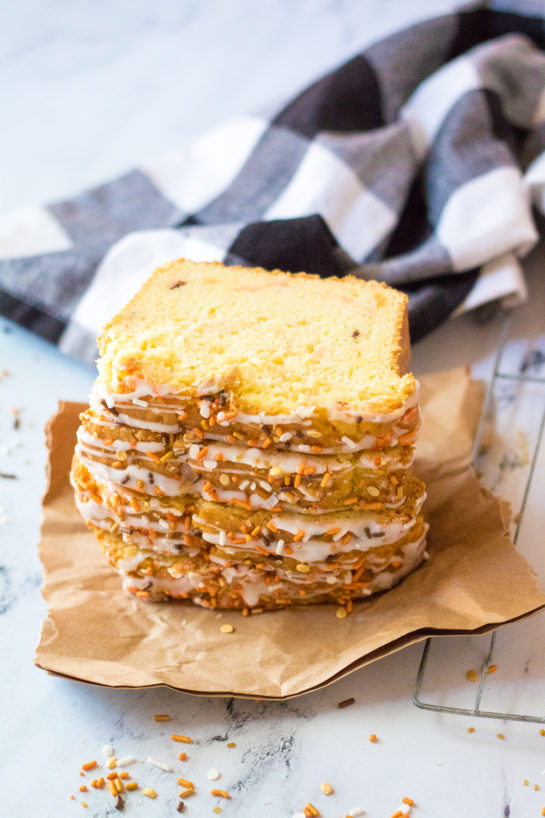 Fall Confetti Sweet Bread recipeis super moist and flavorful. This breakfast or dessert bread is easy to make and doesn't require a mixer - just a bowl, spatula and bread loaf pan. This is perfect for Thanksgiving or Christmas!