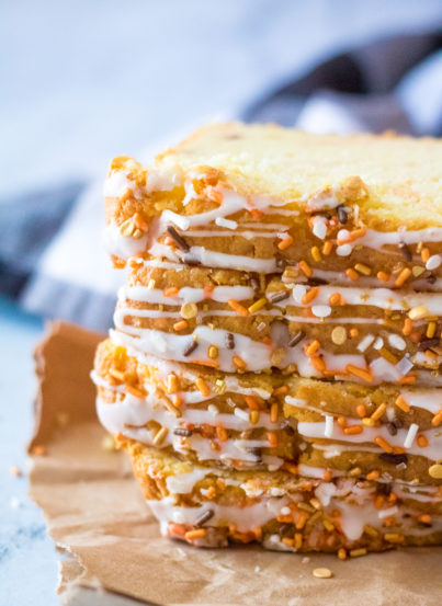 Easy Fall Confetti Sweet Bread recipeis moist and flavorful. This breakfast or dessert bread is easy to make and doesn't require a mixer - just a bowl, spatula and bread loaf pan. Nothing tastes more like fall!