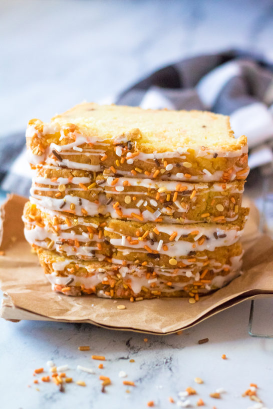 Easy Fall Confetti Sweet Bread recipeis super moist and flavorful. This breakfast or dessert bread is easy to make and doesn't require a mixer - just a bowl, spatula and bread loaf pan. This is perfect for Thanksgiving or fall holiday!