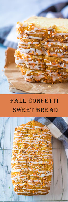 Fall Confetti Sweet Bread recipeis moist and flavorful. This breakfast or dessert bread is easy to make and doesn't require a mixer: just a bowl, spatula and loaf pan. Nothing tastes more like fall!