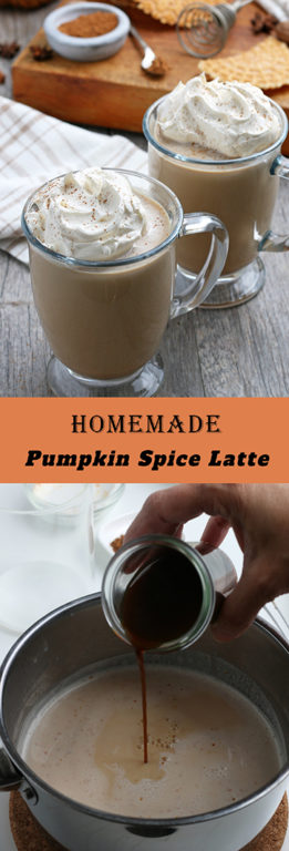 Homemade Pumpkin Spice Latte recipe: a coffee drink made with a mix of traditional autumn spices. The combination of coffee with cinnamon is an excellent cool-weather drink for the season!