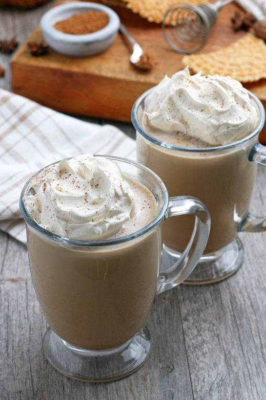 Finished Homemade Pumpkin Spice Latte recipe ready to serve for Thanksgiving or Halloween