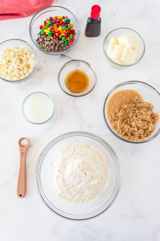 Ingredients needed for Edible Cookie Dough Bombs recipe