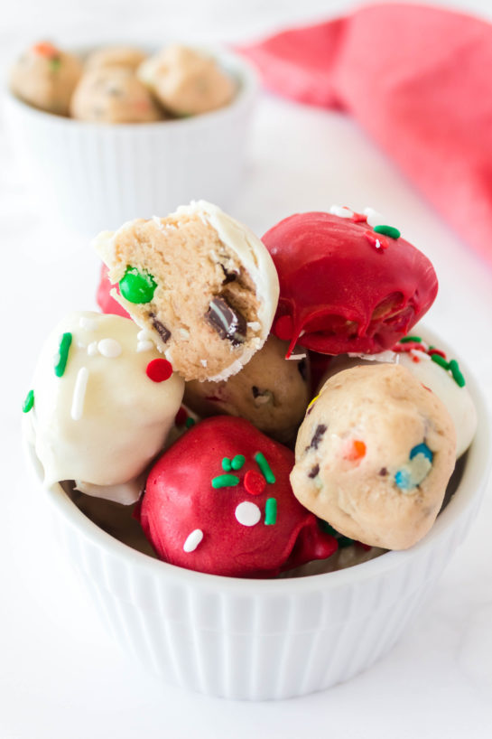 Easy Edible Cookie Dough Bombs recipe is outrageously good, made with no eggs, and especially perfect for Christmas dessert trays!
