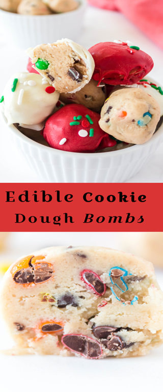 Easy Edible Cookie Dough Bombs recipe is outrageously good, made with no eggs, and especially perfect for Christmas holiday dessert trays!