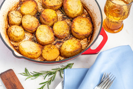 Melting Potatoes recipe might just become your new go-to side dish for Thanksgiving and Christmas! Baking the Russet potatoes in high heat caramelizes the outsides, and finishing them in chicken stock makes the insides creamy!