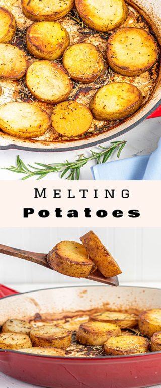 Easy holiday Melting Potatoes recipe might just become your new go-to side dish for Thanksgiving and Christmas! Baking the Russet potatoes in high heat caramelizes the outsides, and finishing them in chicken broth makes the insides creamy!