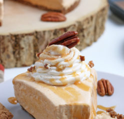Close-up shot of the No Bake Pumpkin Cheesecake with extra spiced flavor and gingersnap crust. It is a fool proof recipe because it turns out amazing every time! This is the perfect holiday dessert!