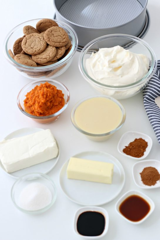 Ingredients needed to make the No Bake Pumpkin Cheesecake recipe