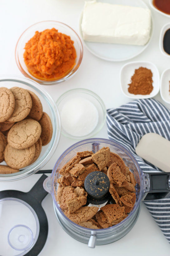Processing the gingersnaps cookies to make the No Bake Pumpkin Cheesecake recipe