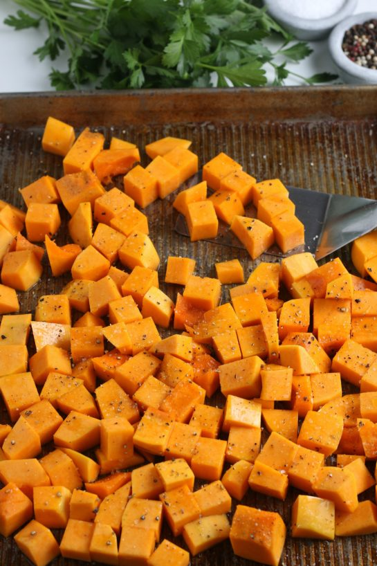 Roasted butternut squash on the pan after baking
