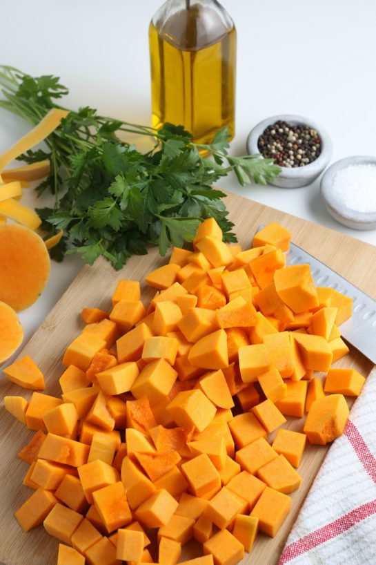 Easy Roasted Butternut Squash recipe has so much flavor and is a delicious side dish for Thanksgiving and Christmas!It is so tasty and a little different than the standard fare.