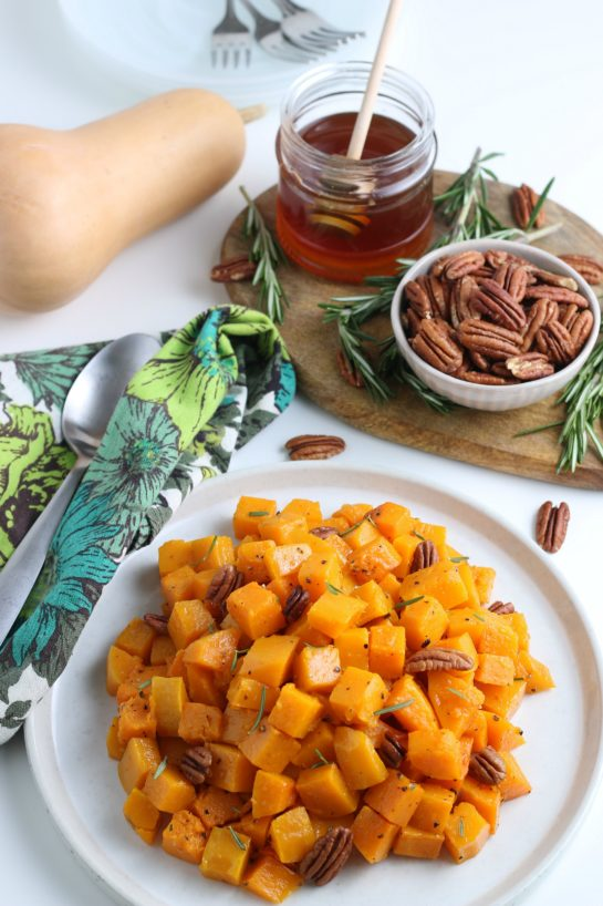This Roasted Butternut Squash recipe has so much flavor and is a delicious side dish for Thanksgiving and Christmas!It is so tasty and a little different than the standard fare for the holidays.