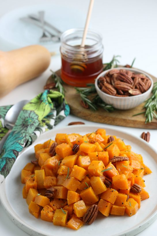 Simple Roasted Butternut Squash recipe has so much flavor and is a delicious side dish for Thanksgiving and Christmas!It is so tasty and a little different than the standard fare for the holidays.