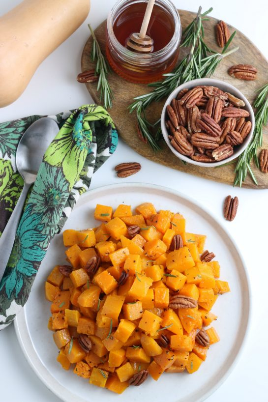 This Roasted Butternut Squash recipe has so much flavor and is a delicious side dish for Thanksgiving and Christmas!It is so tasty and a little different than the standard fare.
