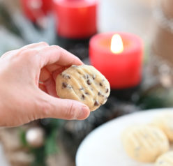 Fast and Easy Chocolate Chip Shortbread Cookies recipe are my favorite Christmas cookie recipe! These cookies are so tender, buttery and delicate! The chocolate chips are the perfect addition.