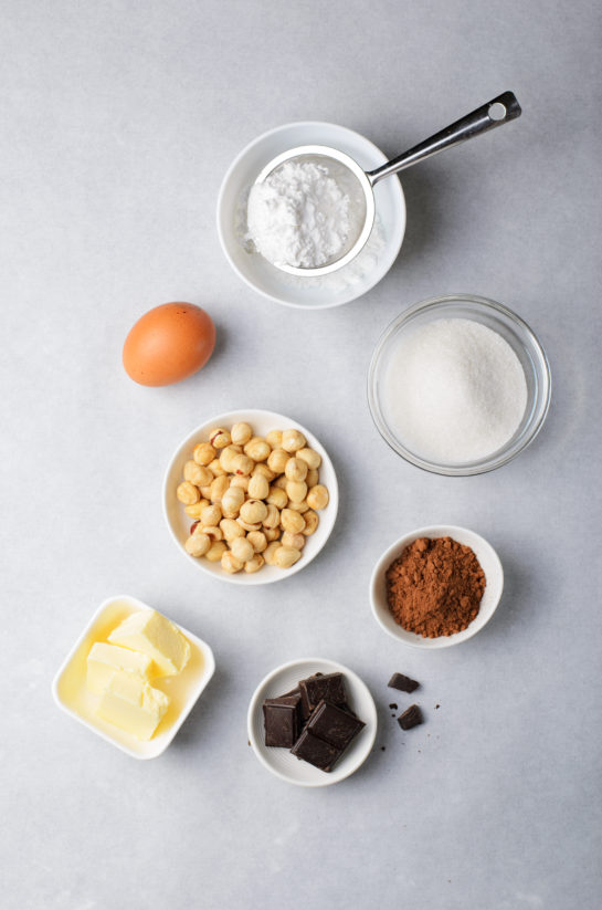 Ingredients needed to make the chocolate hazelnut crinkle cookies recipe