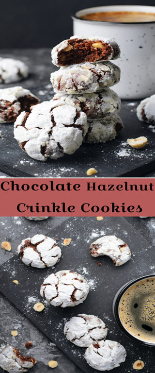 Classic Chocolate Hazelnut Crinkle Cookies recipe are rich, chewy cookies with hazelnuts, cocoa, and chocolate. They are irresistible cookies for Christmas or any holiday with a few simple steps to make!
