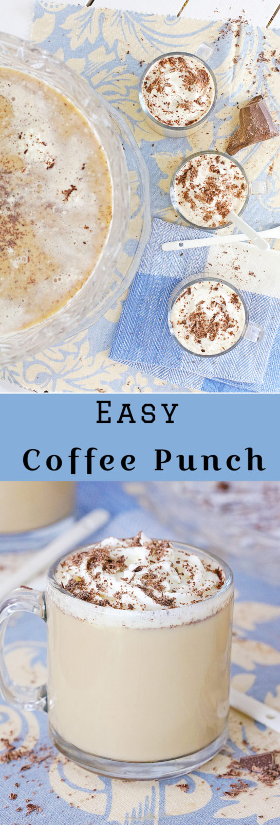 This Easy Coffee Punch recipe is not for the faint of heart! Who doesn't love a punch bowl overflowing with frothy goodness for the holidays, New Year's Eve, or a bridal shower!