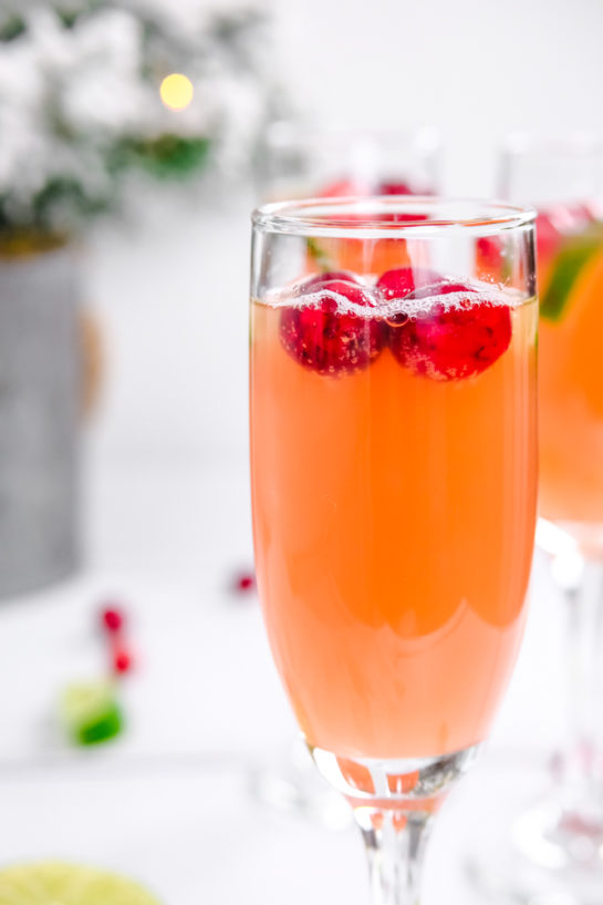 Close-up shot of one of the holiday mimosas recipe with cranberries as garnish