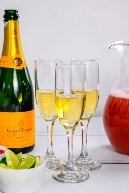 The champagne poured for the holiday mimosas recipe