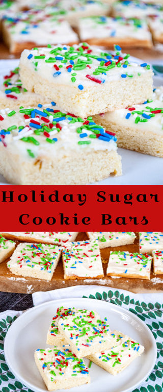 This Holiday Sugar Cookie Bars recipe is the easiest way to make sugar cookies! No rolling or chilling and they are topped off with a sweet, creamy frosting!