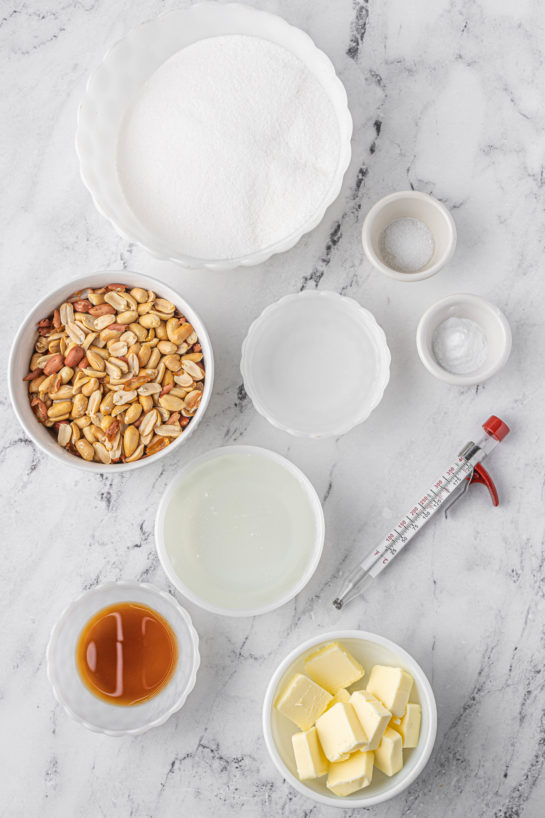 Ingredients needed to make the Microwave Peanut Brittle recipe