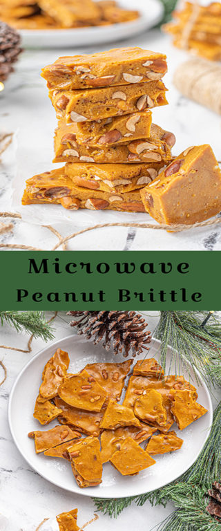 Easy, golden brown Microwave Peanut Brittle recipe is the perfect sweet & salty treat for the holidays with the perfect crunch and sheen! A great edible gift for Christmas!