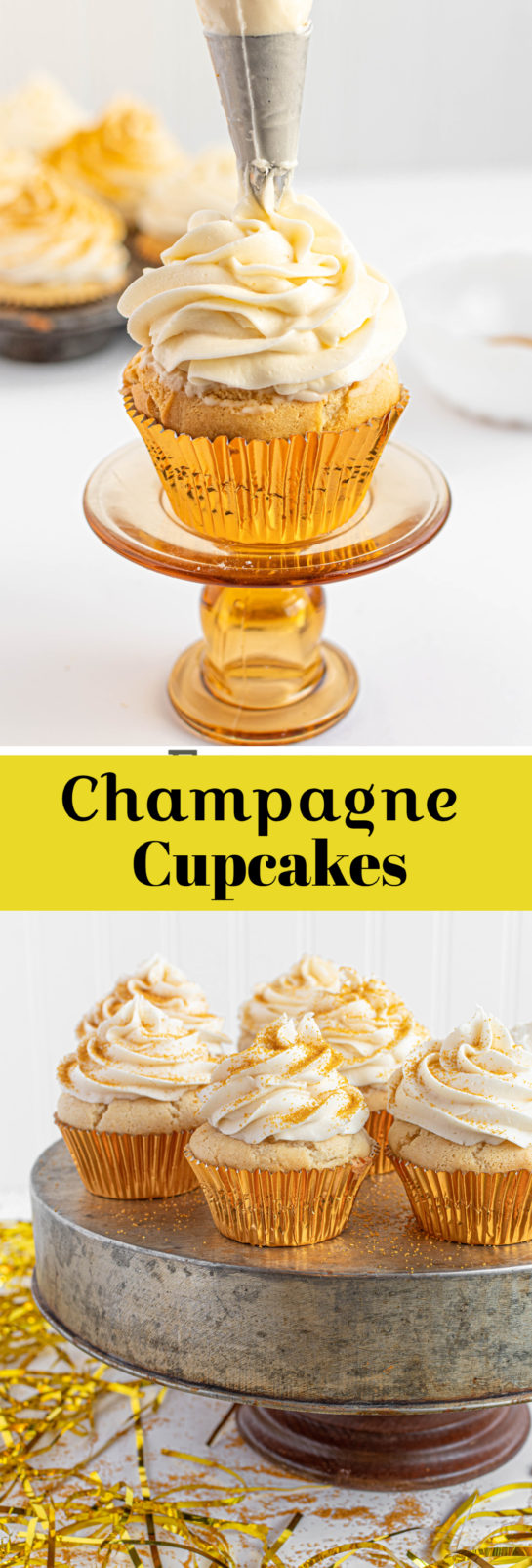 Celebration Champagne Cupcakes recipe is perfect for birthdays, Mother's Day, brunch, bridal shower or a New Year's Eve dessert! They are jazzed up with gold sprinkles!