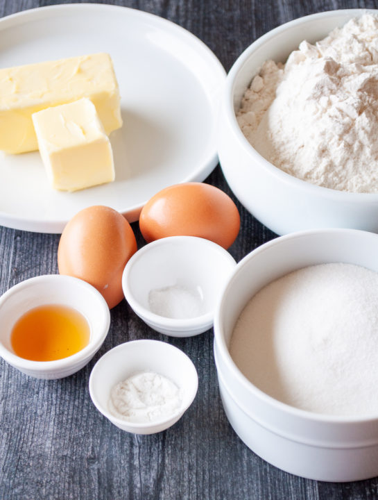 Ingredients needed to make the sugar cookie bars recipe