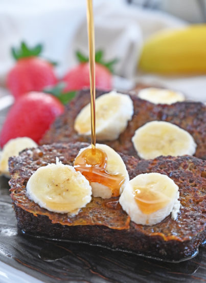 Banana Bread French Toast recipe is a great breakfast for preparing ahead and it's loaded with banana flavor! No need to wait for the weekend to enjoy French toast when you can cook up this irresistible banana breakfast in no time at all.
