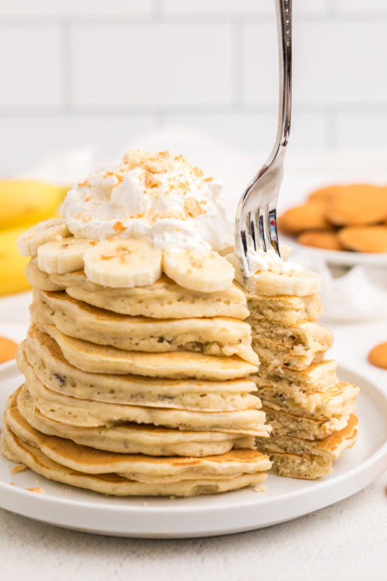 Close up of the Banana Pudding Pancakes that are flavorful enough you don't even need the syrup! They are a quick and easy breakfast or brunch recipe you will love!