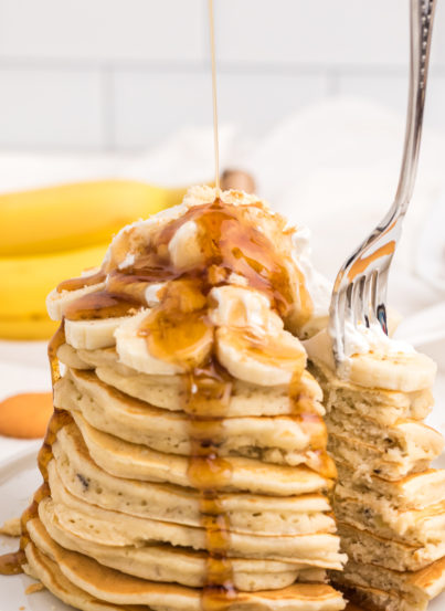 Banana Pudding Pancakes are flavorful enough you don't even need the syrup! They are a quick and easy breakfast or brunch recipe you will love!