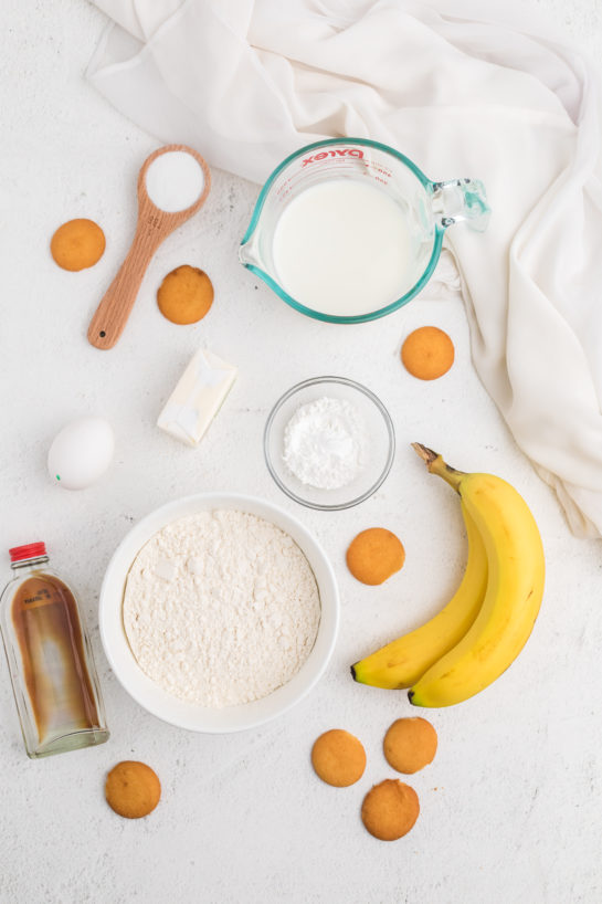 Ingredients needed to make the Easy Banana Pudding Pancakes recipe
