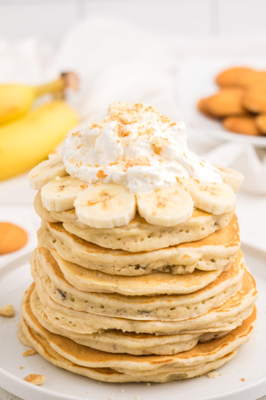 Easy Banana Pudding Pancakes are flavorful enough you don't even need the syrup! They are a quick and easy breakfast or brunch recipe you will love!