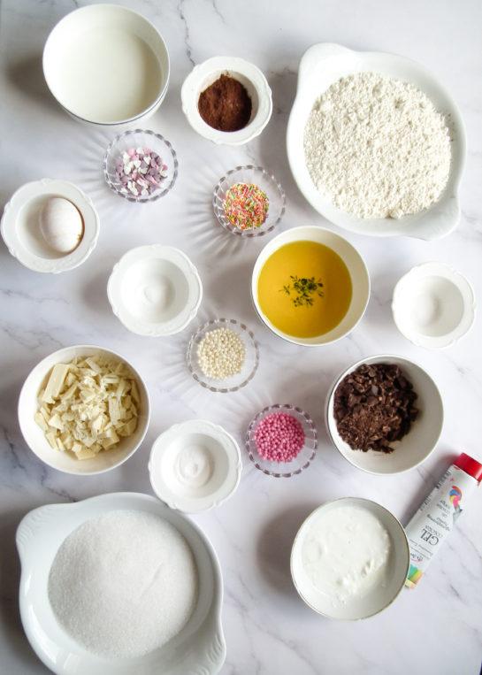 Ingredients needed to make the red velvet truffles recipe