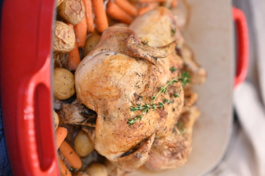 Roasting a whole chicken is easier than you think! This crispy skin roast chicken with vegetables recipe yields a moist, golden bird with savory vegetables that will all be ready to eat at the same time!