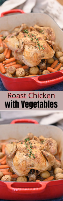 Roasting a chicken is easier than you think! This roast chicken with vegetables recipe yields a moist, golden bird with savory vegetables that will all be ready to eat at the same time!
