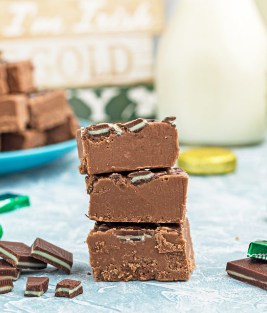 Close-up shot of the stacked pieces of Andes Mint Fudge recipe